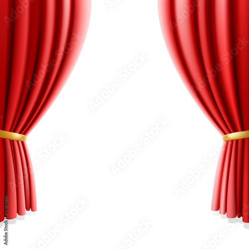 Fotografía  Red theater curtain on white background. Vector illustration.
