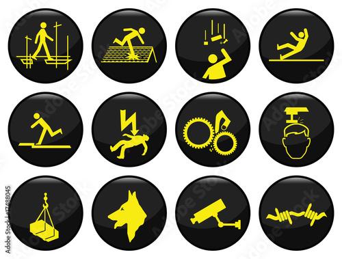 Plakaty BHP bezpieczenstwo-czarny-ikona-ustawic-indywidualnie-warstwowe