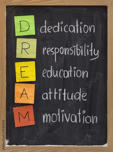 dedication responsibility education attitude motivation
