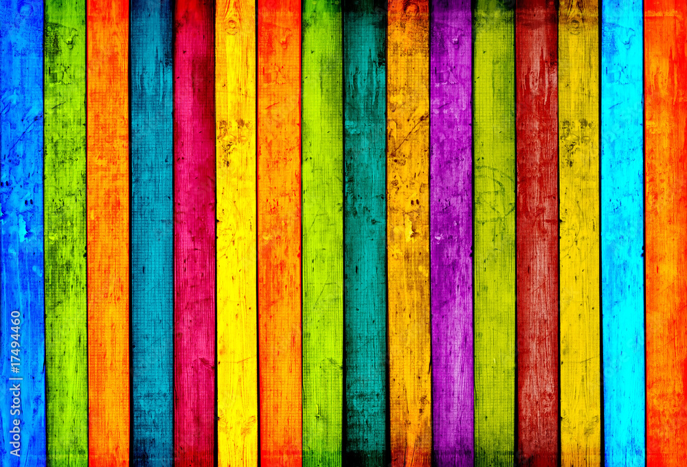 Fototapety, obrazy: Colorful Wood Planks Background