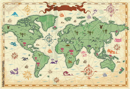 Poster Carte du monde Colorful ancient World map