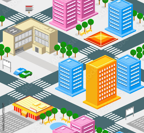 Poster Op straat Isometric city seamless pattern with roads, buldings, trees