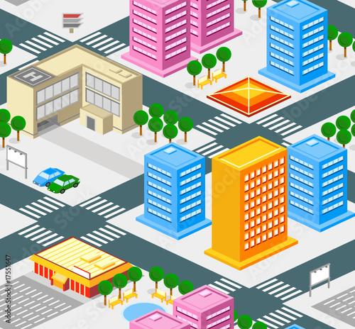 Foto op Canvas Op straat Isometric city seamless pattern with roads, buldings, trees