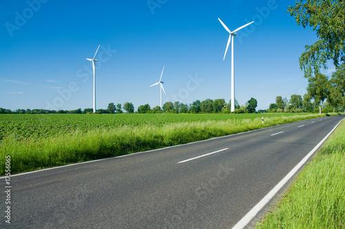 Poster Gris Landstraße, Windkraft, Umwelt