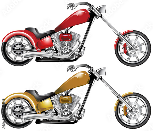 Fototapeta One red one sepia highly detailed custom choppers