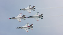 The U.S. Air Force F-16 Thunderbirds Fly In Diamond Formation