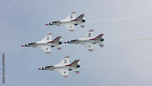 The U.S. Air Force F-16 Thunderbirds fly in diamond formation Canvas Print