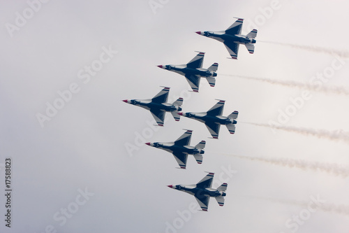 The U.S. Air Force F-16 Thunderbirds fly in formation Canvas Print