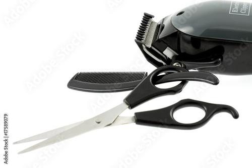 Foto tondeuse cheveux, ciseaux, peigne