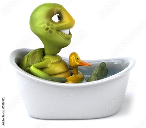 Stampa su Tela Tortue dans son bain