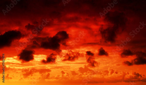 Deurstickers Rood fire in the sky cloudscape background