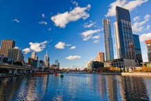 Winter In Melbourne, Skyscrapers On Yarra River