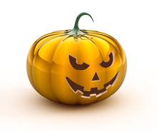 3d Halloween Pumpkin On White ...