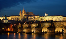 Charles Bridge And Prague Castle Night Panorama