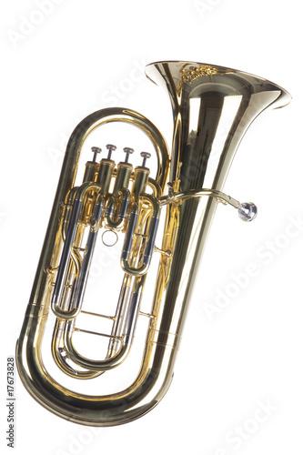 Tuba Euphonium Isolated on White Canvas Print