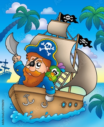 Poster de jardin Pirates Cartoon pirate sailing on ship