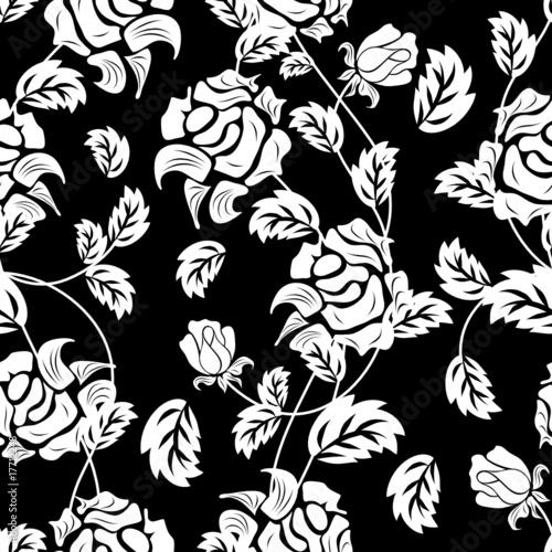 Staande foto Bloemen zwart wit floral seamless background