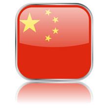 Chinese Square Flag Button (vector With Reflection)