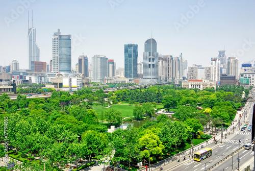 China Shanghai  Puxi skyline © claudiozacc