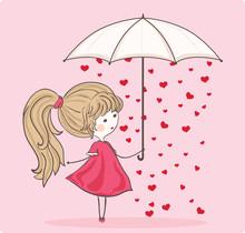 Girl With Umbrella In Heart Rain