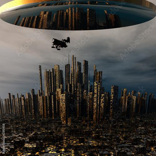 3d-statku-kosmicznego-obcych-ufo-nad-miastem-noc