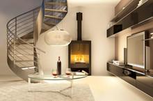 Salon Avec Un Escalier En Coli...