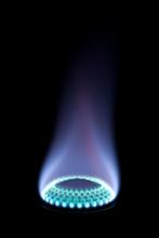 Burning Gas On A Black Backgro...