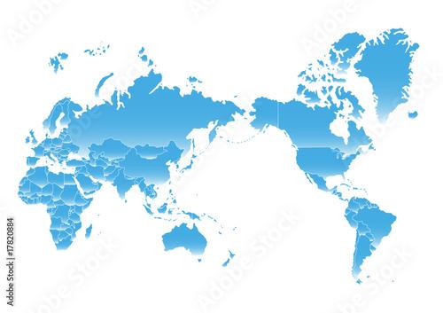 Poster Carte du monde planisphere pacifique monde asiatique