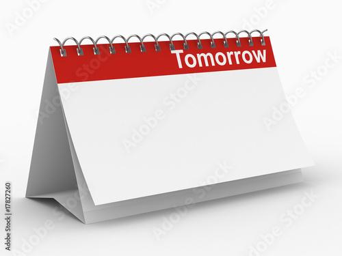Slika na platnu Calendar for tomorrow on white background. Isolated 3D image
