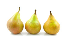 Three Pears In A Row Over White Background
