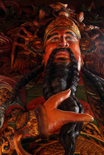 The Woodcarving Statue Of Chinese God .