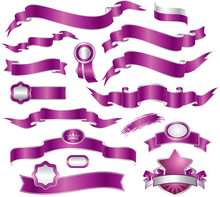 Set Of Violet Ribbons