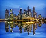 Fototapeta Nowy York - Singapore City Evening Skyline