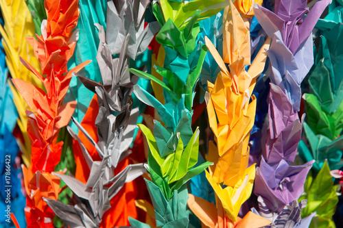 Fotobehang Paradijsvogel Origami Paper Cranes At Hiroshima, Japan