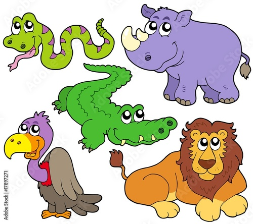 Deurstickers Zoo Wildlife cute animals collection