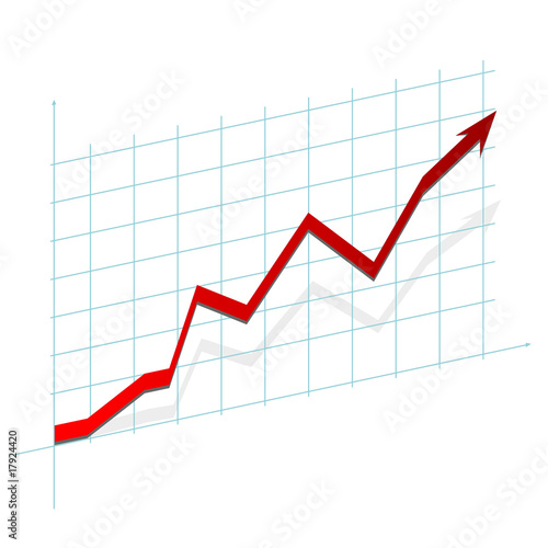 3D graph showing rise in profits or earnings - Buy this