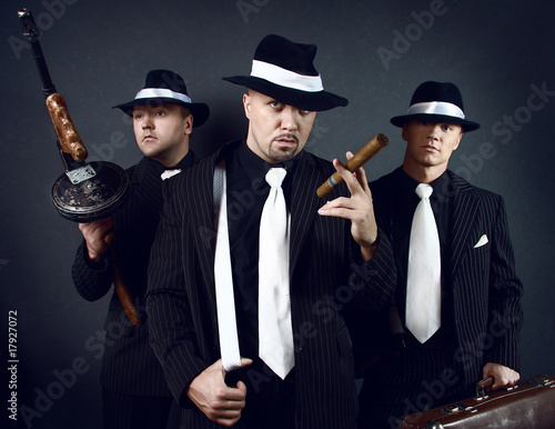 Fotografie, Obraz  Three gangsters. Gangster gang Photo.