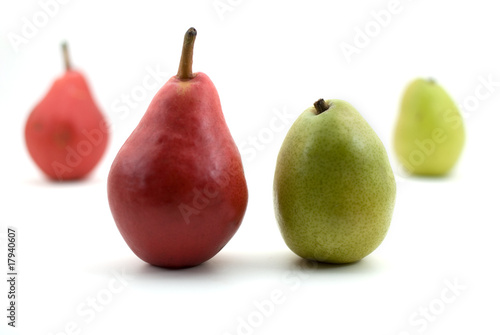 Pears - Starkrimson Red and Green Anjou Isolated on White Backgr Canvas Print