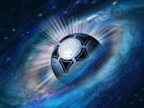 Fototapeta Child room - cosmos background with a soccer ball
