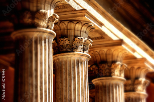 column detail from old public building, Istanbul, Turkey Canvas Print