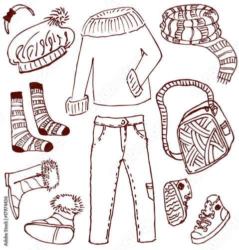 Poster Doodle Clothes and accessories doodles (winter-autumn)