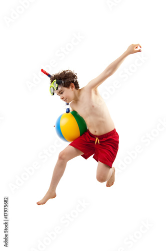 Boy ready to swim and dive isolated on white background Poster