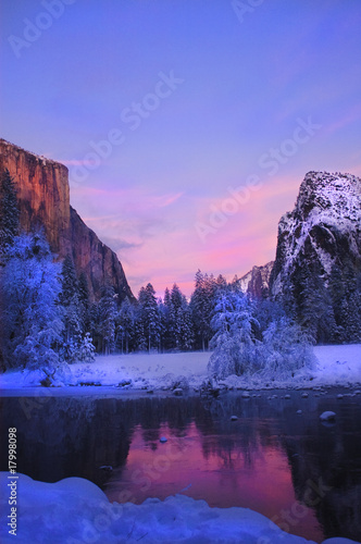 Yosemite valley in California during winter Poster