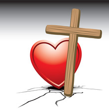 Cross And Heart On Cracked Ground