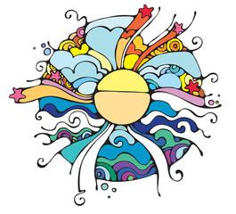 Naklejka Witraże świeckie Sun rays.