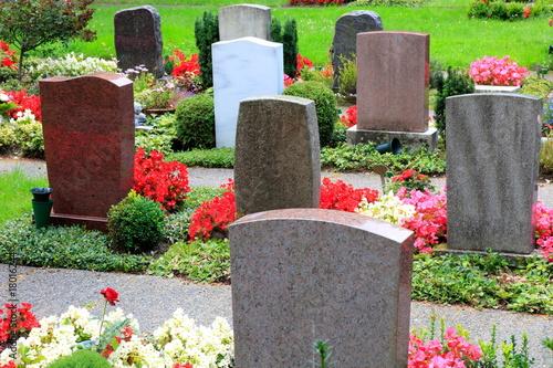 Tuinposter Begraafplaats Friedhof, Letzte Ruhestätte, Gedenkstätte, Grabstätten