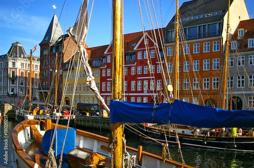 Photo  Nyhavn (new Harbor) in Copenhagen, Denmark.