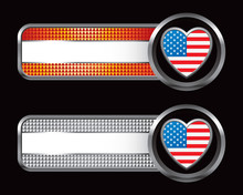 American Heart On Bronze And Silver Checkered Banners