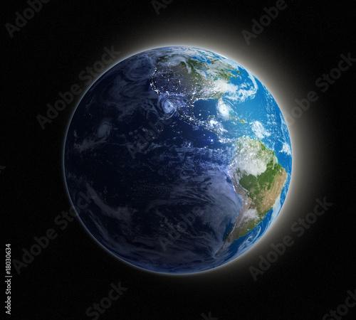 In de dag Ochtendgloren Earth seen from space with lights glowing in urban areas.