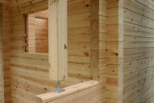 Construction Of Planed Pine Log Cabin
